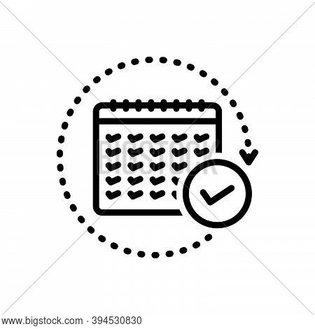 Black Line Icon For Annual  Yearly Per-annum Once-a-year Every-twelve-months Agenda Calender