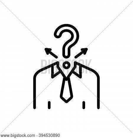Black Line Icon For Confusion Decision Doubt Question Ask Unknown Brain-confusion Problem Concept