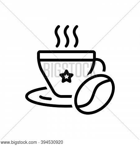 Black Line Icon For Coffee Bean Aroma Beverage Breakfast Mocha Cappuccino Cup Liquid Hot-drink