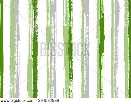Watercolor Freehand Rough Stripes Vector Seamless Pattern. Distressed Summer Fashion Design. Vintage