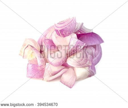 Shallots Onion Chopped Isolated On A White Background