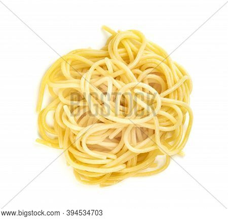 Closeup Spaghetti Noodles Isolated On White Background