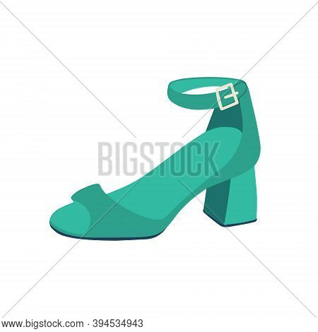 .green Womens Sandals. Low-heeled Shoes.vector Flat Illustration
