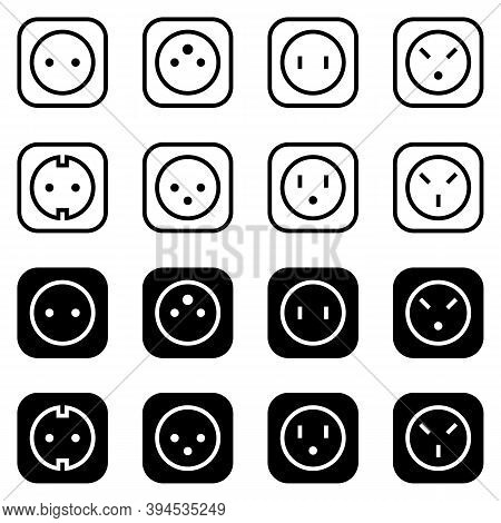 Set Of Simple Icons On A Theme Power Socket, Vector, Set. White Background