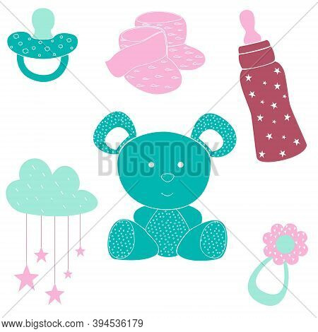 Baby Toys And Accessories For Newborn, Vector Illustration Design Element. Flat Pink And Blue Bear,