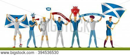 Scotland Football Fans. Cheerful Soccer Supporters. Sport Player Vector Illustration.