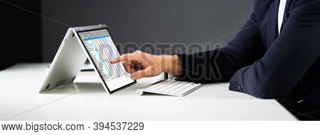 Spreadsheet Business Data Technology And Software On Laptop
