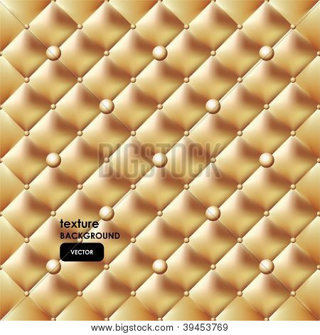 Gold button-tufted leather background. Vector illustration.