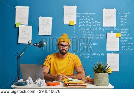 Serious Student Going To Watch Training Webinar, Works On Coursework Plan, Creats Article In Notepad
