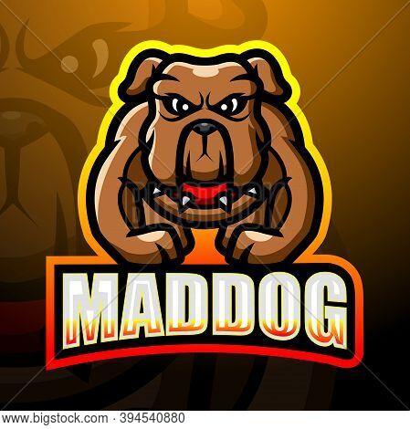 Vector Illustration Of Strong Mad Dog Mascot Esport Logo Design