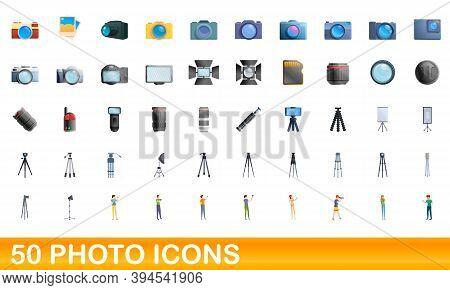 50 Photo Icons Set. Cartoon Illustration Of 50 Photo Icons Vector Set Isolated On White Background