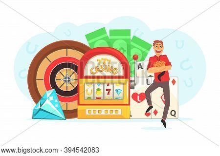 Young Man Gambling, Guy Playing Roulette, Slot Machine, Poker, Casino And Gambling Cartoon Vector Il