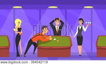 People Gambling In Casino, Lucky Man Winning Money, Casino And Gambling Concept Cartoon Vector Illus