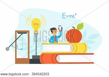 Boy Physicist Scientist Character Doing Physics Experiment At Lesson Cartoon Vector Illustration