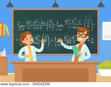 Boy And Girl Mathematicians Characters Writing Formulas On Blackboard, Children Education Concept Ca