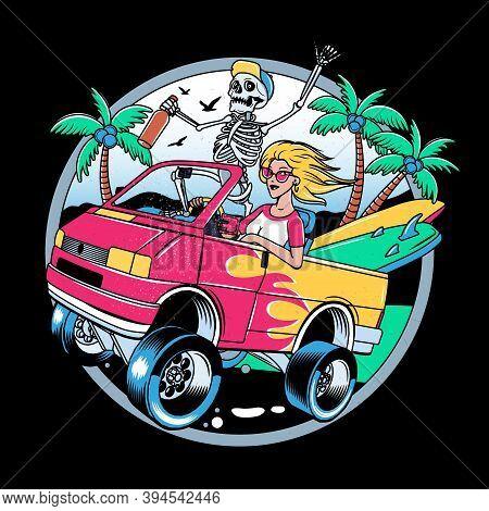 Surfing T-shirt Vector Designs. Surf Van With Crazy Skeleton And Blondie Girl. Vintage Surfing Emble