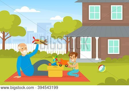 Grandpa And Grandson Playing Toys On Backyard, Grandfather Spending Time With Grandchild Cartoon Vec