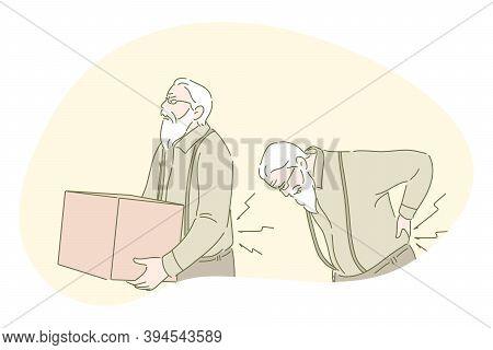 Back Ache, Back Pain, Rheumatism, Osteoporosis Concept. Senior Mature Man Cartoon Character Carrying