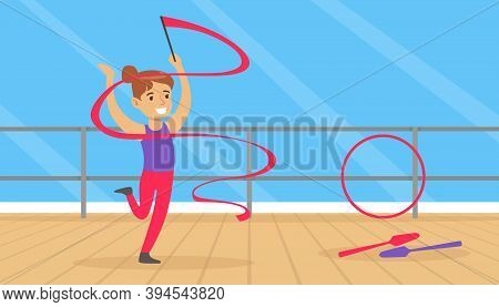Cute Girl Performing Gymnastic Exercise, Gymnast Girl With Ribbon Taking Part In Rhythmic Gymnastics