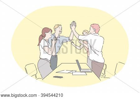 Agreement, Teamwork, Deal, Business, Successful Negotiations Concept. Young Business People Office W