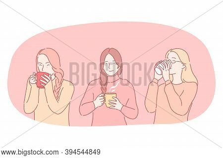 Hot Drinks During Cold Seasons Concept. Young Positive Women Cartoon Characters Holding Mugs And Dri