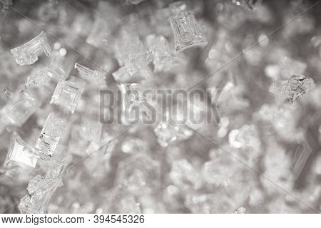 Ice Crystals Pattern. Background Of Frozen Ice Ornament.