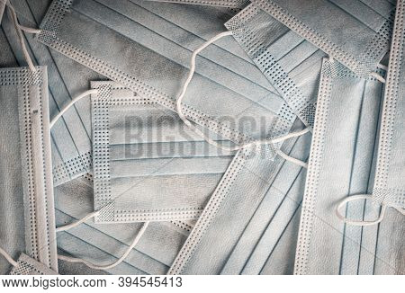 Close-up Disposable Medical Masks In The Stack Detailed Macro Photo. Medical Mask Texture Background