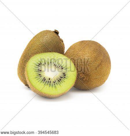 Sliced Kiwi Isolated On White, Ripe Whole Kiwi Fruits And Half Kiwi Fruit Isolated On White Backgrou