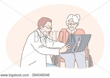 Communication Between Doctor And Patient, Medicare, Injury, Arthritis Concept. Positive Man Doctor C