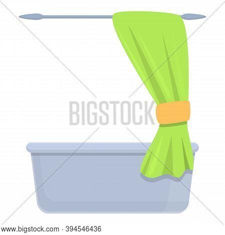 Shower Curtain Bathtub Icon. Cartoon Of Shower Curtain Bathtub Vector Icon For Web Design Isolated O