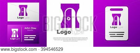 Logotype Pencil Sharpener Icon Isolated On White Background. Logo Design Template Element. Vector Il