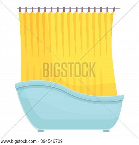 Shower Curtain Comfortable Icon. Cartoon Of Shower Curtain Comfortable Vector Icon For Web Design Is