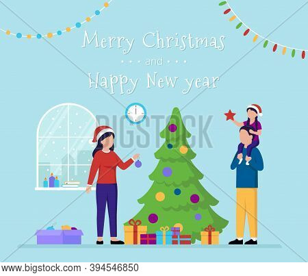 Vector Illustration Of Merry Christmas And Happy New Year Concept With Writing. Postcard Template St