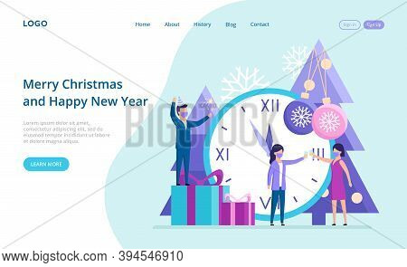 Vector Illustration In Cartoon Flat Style Webpage Template With Buttons. Composition On Merry Christ