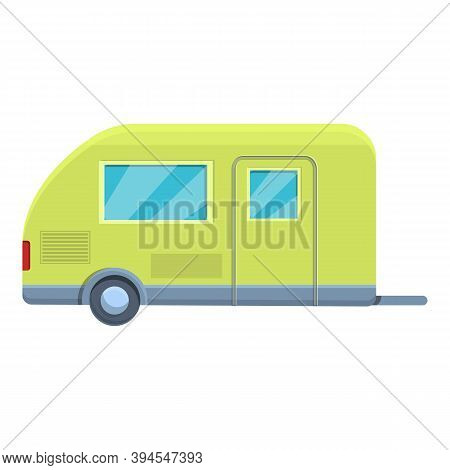 Green Camp Trailer Icon. Cartoon Of Green Camp Trailer Vector Icon For Web Design Isolated On White