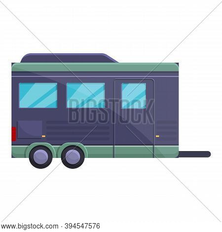Tourism Trailer Icon. Cartoon Of Tourism Trailer Vector Icon For Web Design Isolated On White Backgr