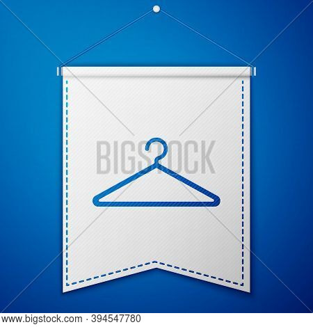 Blue Hanger Wardrobe Icon Isolated On Blue Background. Cloakroom Icon. Clothes Service Symbol. Laund