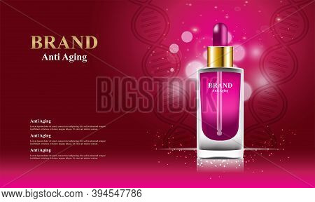 Anti Aging Serum Cosmetics With Bokeh And 3d Packaging Vector Illustration
