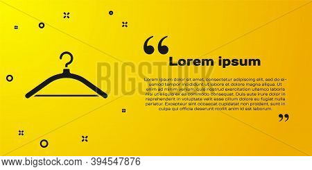 Black Hanger Wardrobe Icon Isolated On Yellow Background. Cloakroom Icon. Clothes Service Symbol. La