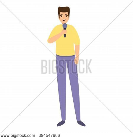 Journalist Reportage Icon. Cartoon Of Journalist Reportage Vector Icon For Web Design Isolated On Wh