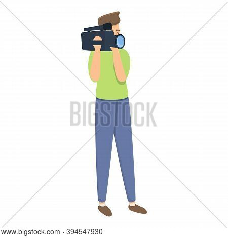 Journalist Cameraman Icon. Cartoon Of Journalist Cameraman Vector Icon For Web Design Isolated On Wh