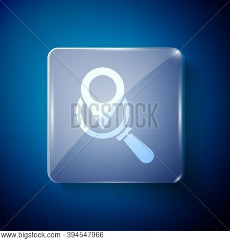 White Search Location Icon Isolated On Blue Background. Magnifying Glass With Pointer Sign. Square G