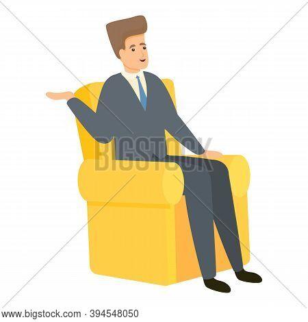 Reportage Man In Armchair Icon. Cartoon Of Reportage Man In Armchair Vector Icon For Web Design Isol