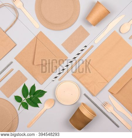 Square Composition With Eco-friendly Tableware - Kraft Paper Food Packaging On Light Grey Background