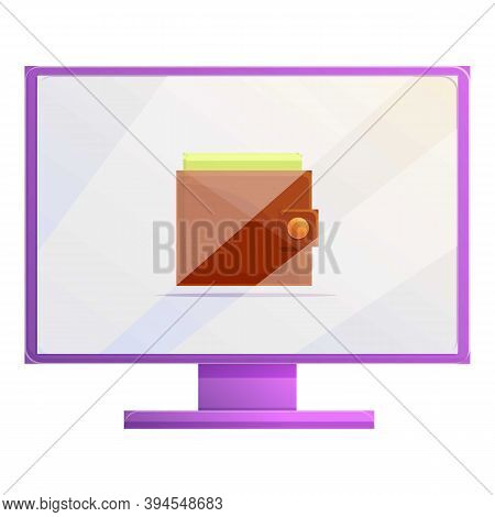 Online Wallet Monetization Icon. Cartoon Of Online Wallet Monetization Vector Icon For Web Design Is