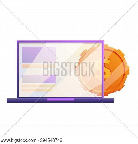 Laptop Coin Monetization Icon. Cartoon Of Laptop Coin Monetization Vector Icon For Web Design Isolat