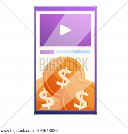 Smartphone Video Monetization Icon. Cartoon Of Smartphone Video Monetization Vector Icon For Web Des
