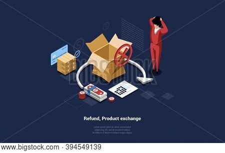 Refund, Product Exchange Conceptual Vector Composition On Dark Background. 3d Illustration In Cartoo