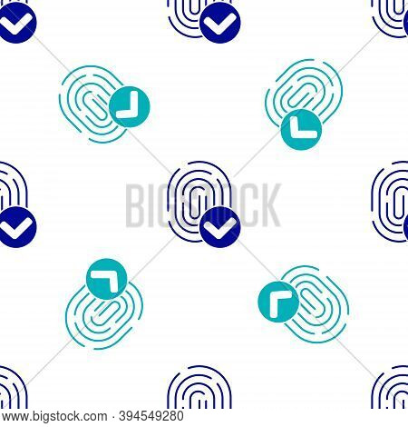 Blue Fingerprint Icon Isolated Seamless Pattern On White Background. Id App Icon. Identification Sig