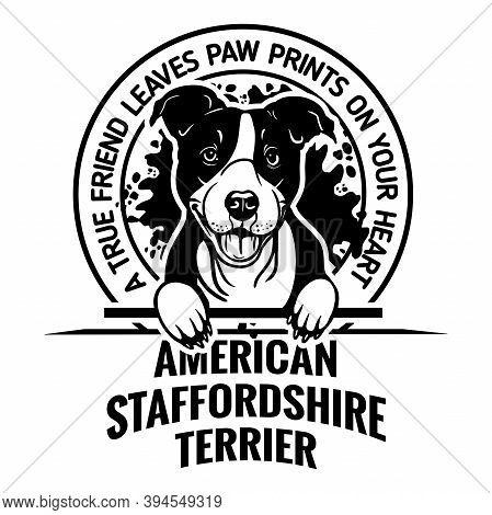 American Staffordshire Terrier Dog - Dog Happy Face Paw Puppy Pup Pet Clip Art K-9 Cop Police Logo S